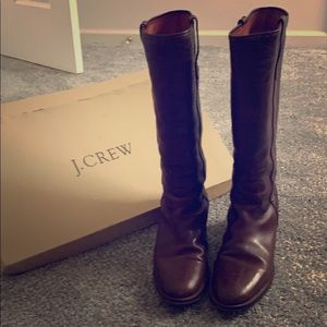 J Crew Leather Stacked Low Heel Boots 👢 Size 12
